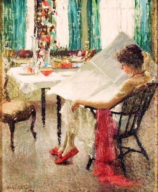Morning News (Notícias da Manhã)  Helen M. Turner - 1915 Jersey City Museum - New Jersey, USA    Um momento privado é testemunhado - a camisola da mulher caida de seu ombro revelando seu peito.   Turner aplica salpicos de cores bem colocados. O tema de uma mulher lendo um jornal tinha sido descrito por outros artistas, mais especificamente por Mary Cassatt, cuja obra Le Figaro 1878 descreve sua mãe lendo.  Helen Marla Turner (13 de novembro, 1858 - janeiro 31, 1958) foi uma pintora americana…