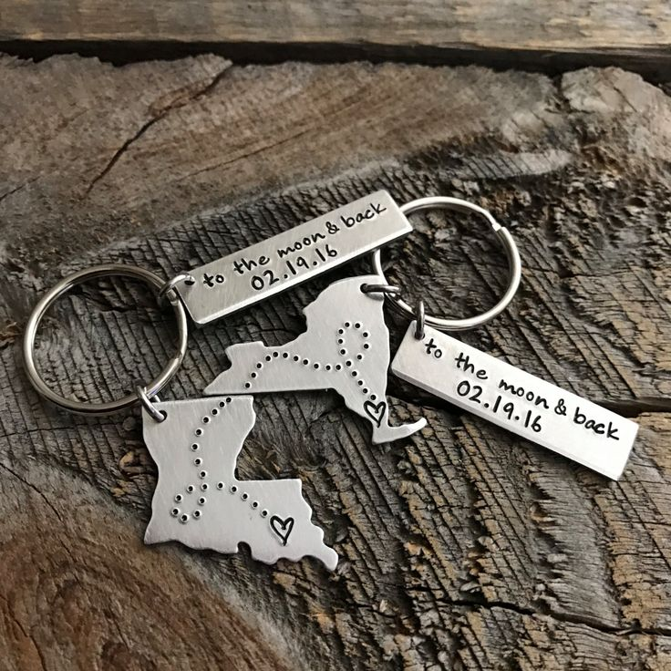 Boyfriend gift Girlfriend gift Husband Wife Gift State Keychain Long Distance Relationship gift Sister gift To the moon gift Going away gift by TheLonelyMoose on Etsy