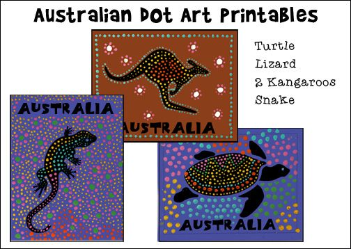 Australian Dot Art Printables for Australia Day or Australian Homeschool Unit Study