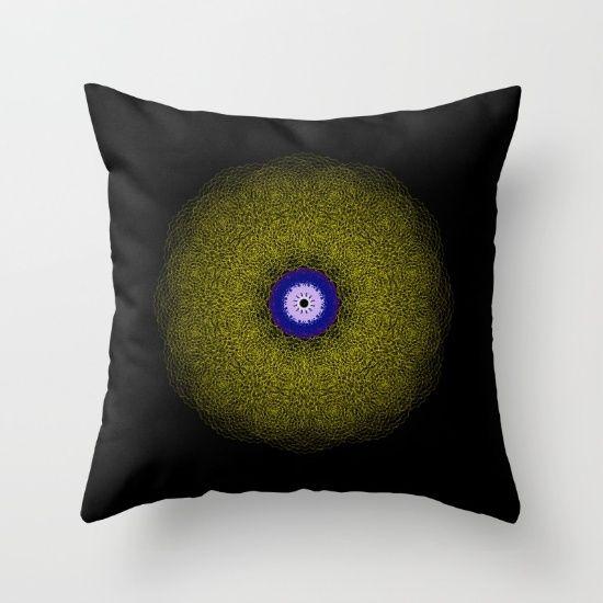 Throw Pillow, mandala, black, gold, eye