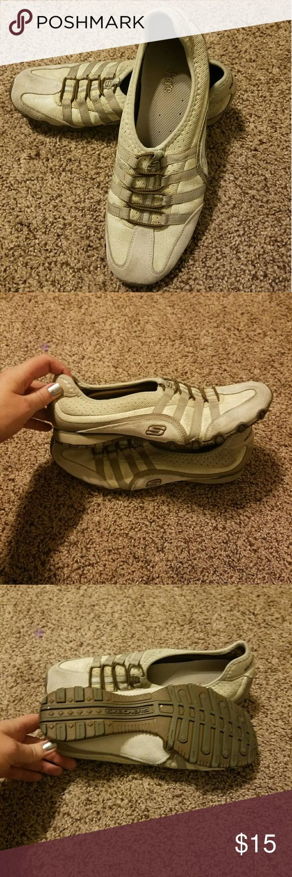 Skechers Slip On Shoes Size 8.5 Light tan and brown. Great condition with lots of life but they have been worn many times. Skechers Shoes Athletic Shoes