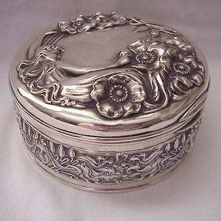"""Rare Unger Bros. """"Queen of the Flowers"""" Sterling Jewel Box - Circa 1905"""