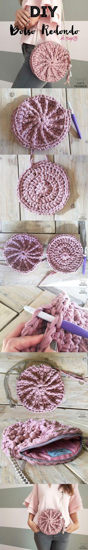 DIY Tutorial Bolso Redondo de Trapillo. Patrón Santa PAZIENZIA. Tu Profe de Crochet XL más cerca que nunca.
