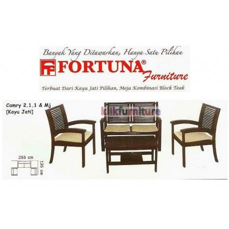 Harga Sofa Fortuna Camry 211 Condition:  New product  Sofa Jati Tipe Camry dengan dudukan 211 dan meja Terbuat dari kayu jati pilihan, meja kombinasi block teak