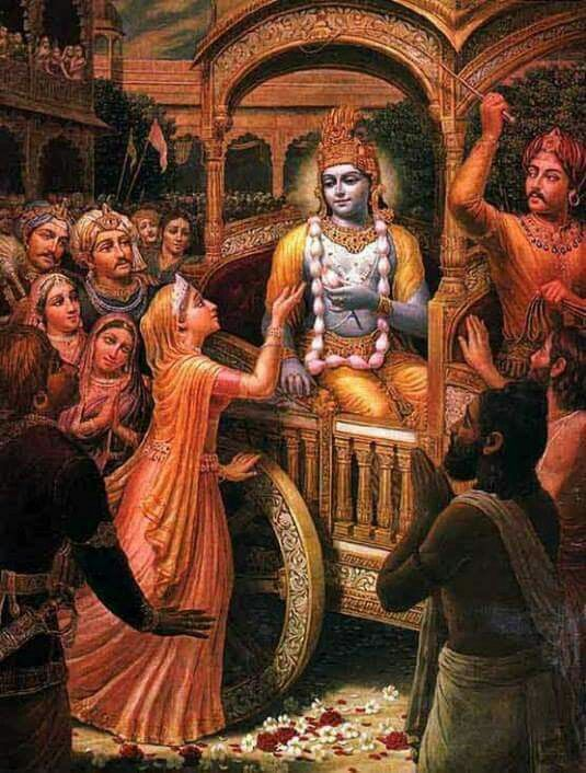Prayers by Queen Kuntī and Parīkṣit Saved O Gadādhara [Kṛṣṇa], our kingdom is now being marked by the impressions of Your feet, and therefore it appears beautiful. But when You leave, it will no longer be so. All these cities and villages are flourishing in all respects because the herbs and grains are in abundance, the trees are full of fruits, the rivers are flowing, the hills are full of minerals and the oceans full of wealth. And this is all due to Your glancing over them. O Lord of ...