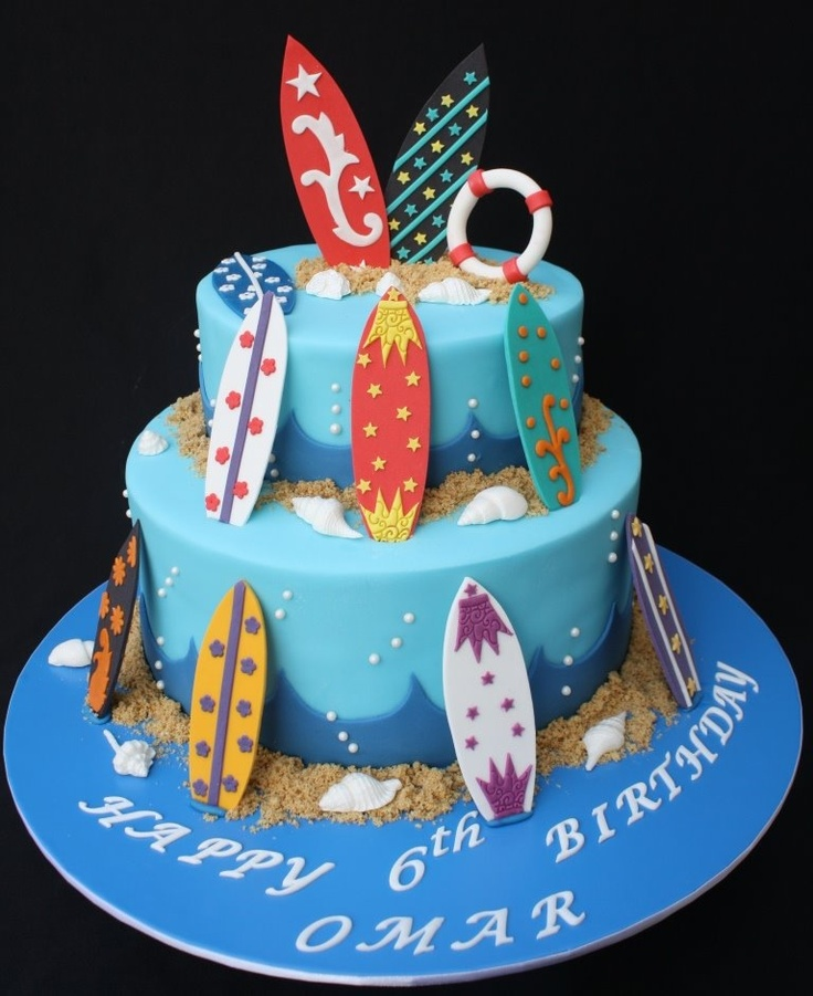 Surf cake for my son 6th surf birthday party. By cake boutique dubai.
