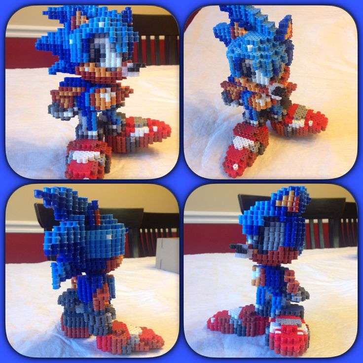 3D Sonic The Hedgehog perler beads by eightbitbert on DeviantArt