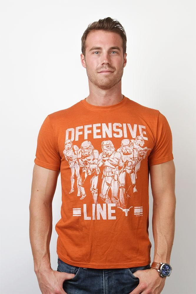 Combine Star Wars and Texas Longhorn football in this Burnt Orange tri-blend tee. The Longhorns empire will rule the football field and the galaxy! Buy now!