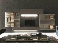 Parete attrezzata componibile fissata a muro con porta tv #284 - Presotto Industrie Mobili