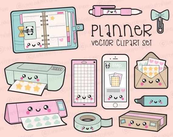 Fournitures de bureau haut de gamme Vector Clipart - planification de Kawaii Clipart - Kawaii planificateur Clip Art Set - vecteurs de haute qualité - planificateur Kawaii Clipart