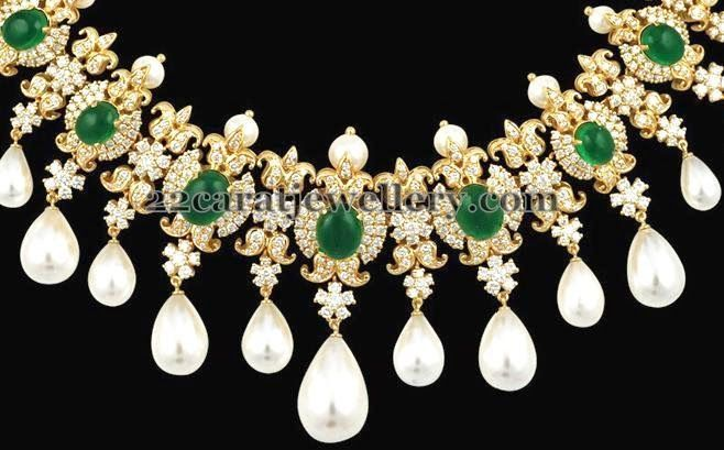 Jewellery Designs: Floral Choker with Pachi Work Finishing