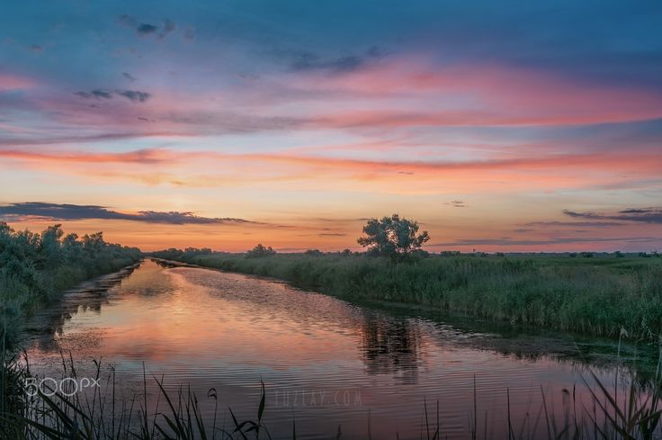 The evening after sunset - Taman Land - also known as the Taman Peninsula, he also Temryuk district of the Krasnodar Territory. Russia.