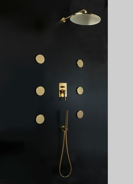 Maier Hydrotherapy Shower Kit. Gold.   Traditional   Bath And Spa  Accessories   Miami