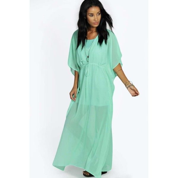 Boohoo Camilla V Neck Kaftan Dress ($8) ❤ liked on Polyvore featuring dresses, green, going out dresses, party maxi dresses, caftan maxi dress, caftan dress and holiday party dresses