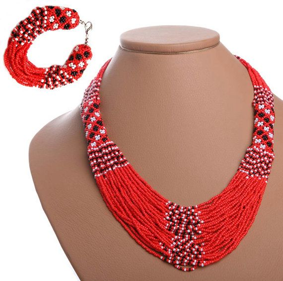 Traditional Ukrainian  Beads NECKLACE & BRACELET: Red(dark or light) /White /Black on Etsy, $38.25