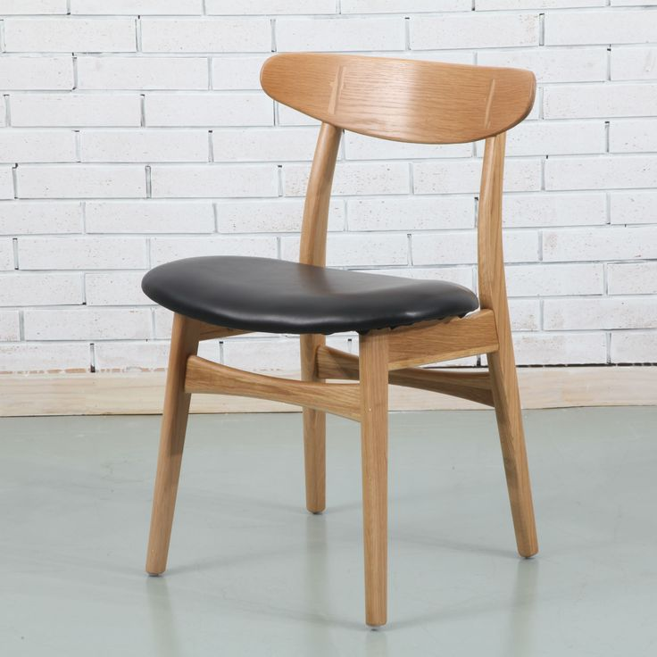 Astrid Solid Oak Dining Chair - Black PU Leather Seat - ICON BY DESIGN #iconbydesign #iconbydesignaustralia #redeemadeal #redadeal