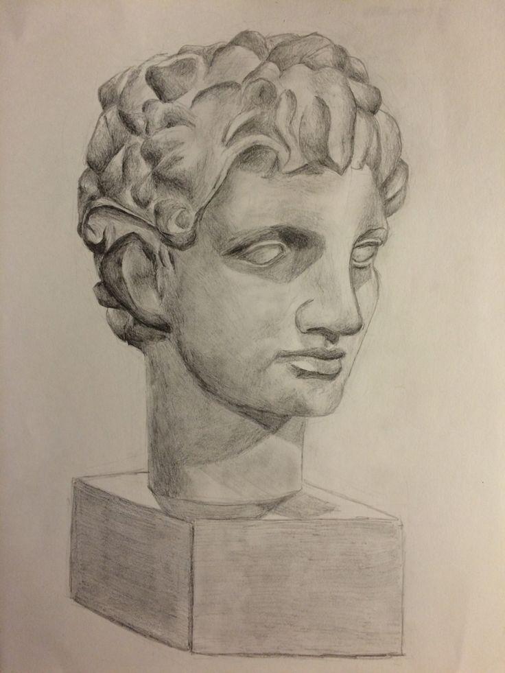 Greek plaster figure Portrait - graphite - Andrea Meyerholz