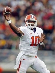 Clemson quarterback Tajh Boyd (10) passes in the first quarter of an NCAA college football game against Boston College in Boston, Saturday, Sept. 29, 2012. (AP Photo/Michael Dwyer)