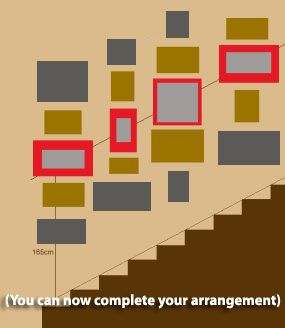 How to hang pictures in a staircase.