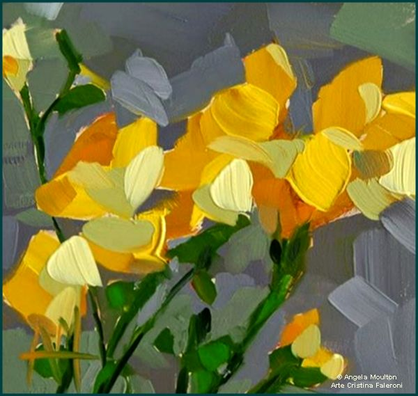 Daily paintworks yellow freesia painting original fine art for sale angela moulton