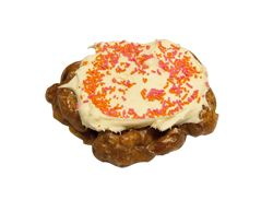 Ain't That A Peach Fritter doughnut  Peach fritter topped with cream cheese frosting with pink and orange sprinkles!