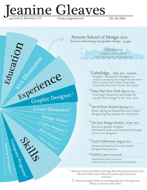 Graphic Resume by Jeanine Gleaves, via Behance