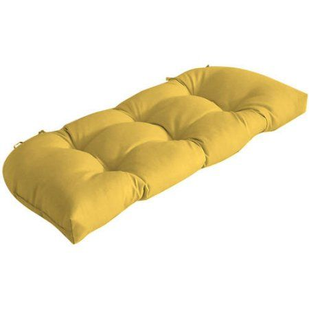 Better Homes and Gardens Outdoor Patio Wicker Settee Cushion, Yellow