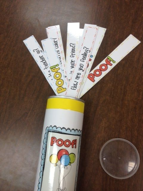 Poof! Sentence Types – Players draw a strip and identify if it's a sentence or fragment. If correct, they keep the strip. If they draw Poof!, they lose their strips.