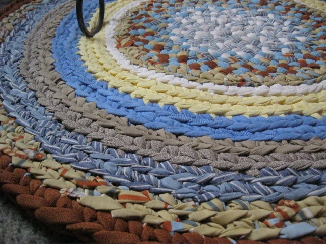 Ooak Braided Crochet Round Rug In Blue And Yellow By