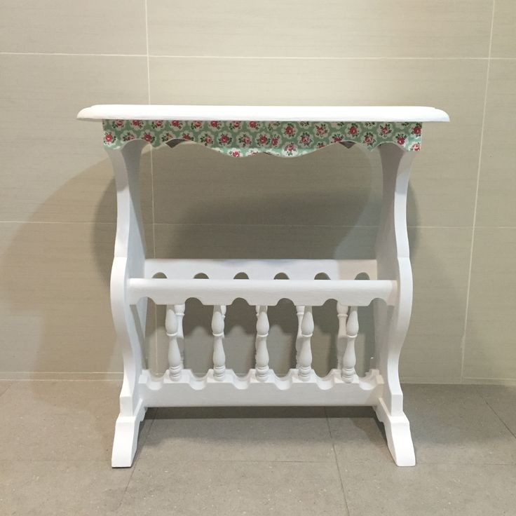 Painted solid wood side table with decoupage floral design fleurdelis.tictail.com