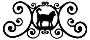 Wrought Iron Cat Over Door Plaque - Find at Wrought Iron Haven products such as door plaque, name plaques, metal plaques, house signs, metal name plaques.