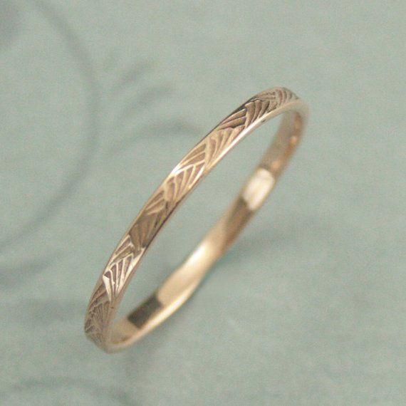 Muster Ring 14K Rose Gold Ring Pinsel Striche Band Frauen Hochzeit Band gemustert Gold Band Antik Stil Ring Art Deco Ring Vintage-Stil – Szandra Steindl