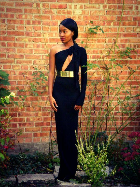 One Shoulder Metal Belt Full Length Gown by alafemme on Etsy, $195.00