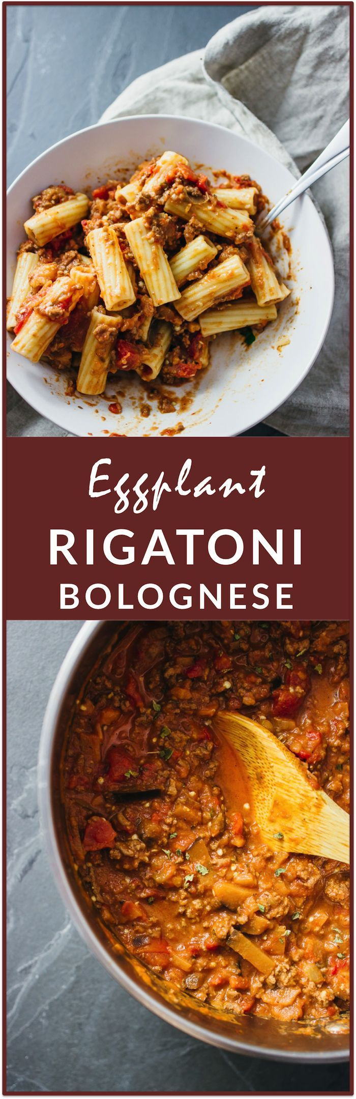 Simple hearty rigatoni bolognese with eggplant - This is a tasty weeknight dinner recipe for rigatoni bolognese with eggplant. It's simple to make and it's the ultimate comfort food with thick rigatoni pasta, ground beef, eggplant slices, and a rich orange-red garlicky tomato sauce topped with oregano and parmesan cheese crumbles. | http://savorytooth.com