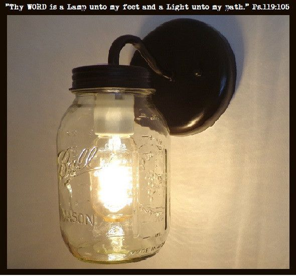Mason Jar Wall SCONCE Lighting Fixture New Quart