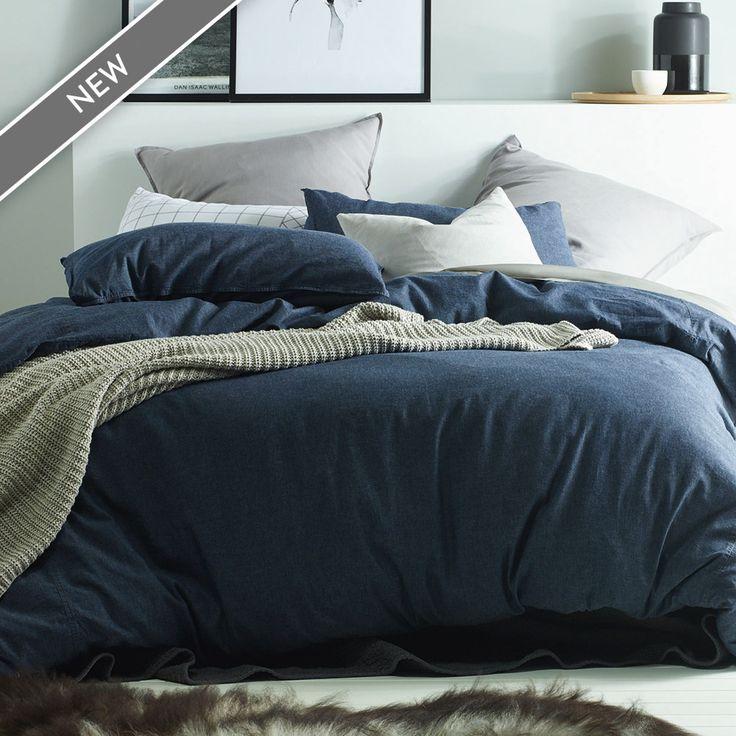 Dark Denim Linen Cotton Quilt Cover Set | More Sizes Available by Linen Dreams on THEHOME.COM.AU