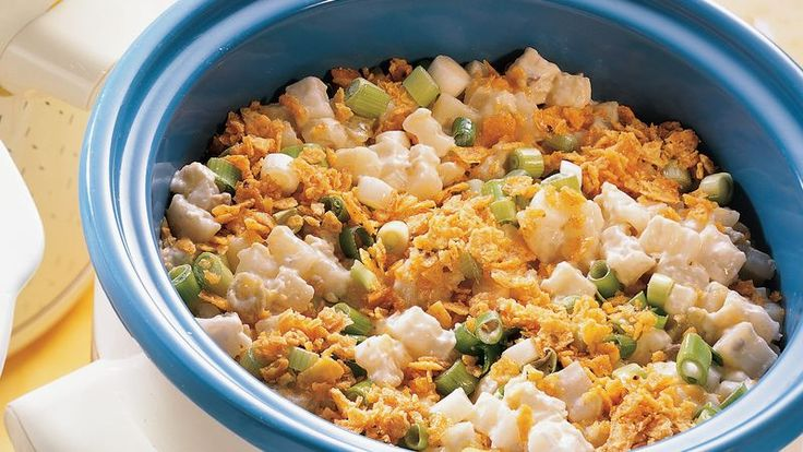 Frozen hash browns and  zesty extras mix up to make a slow easy, crowd-pleasing side dish.