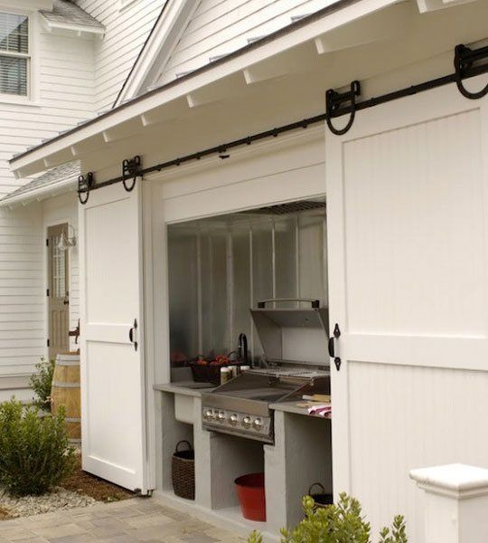 A Great Outdoor Grilling Area Coverup: Sliding Barn Doors