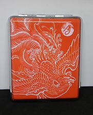 Ami James Ink Red Dragon Framed Double Sided PU Leather 100s Cigarette Case