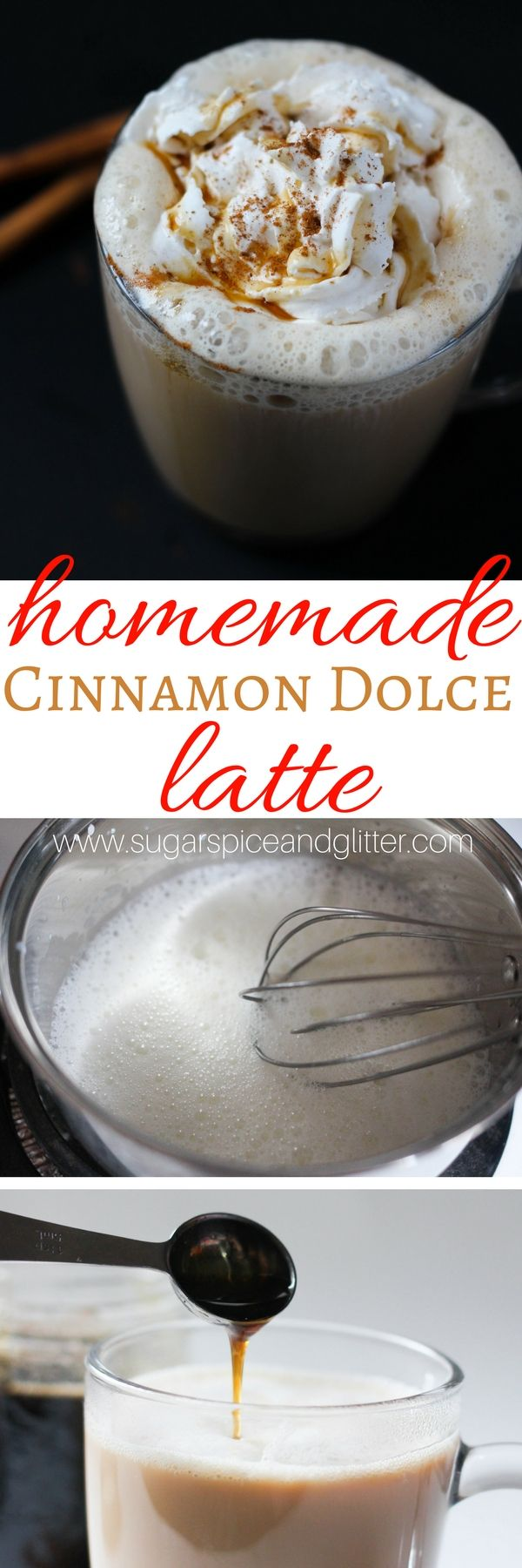 An easy homemade cinnamon dolce latte with easy homemade cinnamon coffee syrup - Starbucks flavor for a fraction of the cost