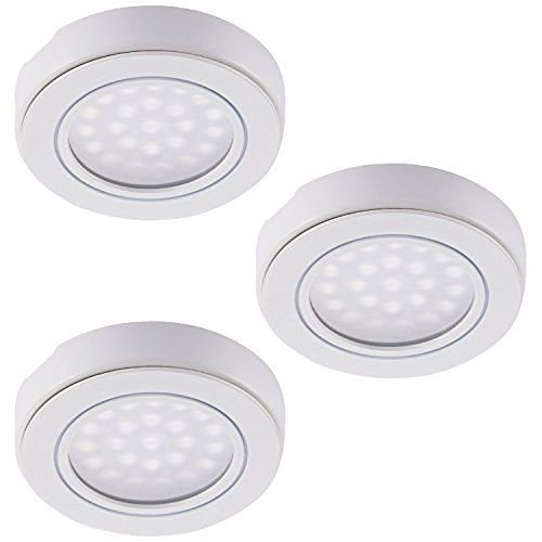 Set of 3 LED Battery-Operated LED Under Cabinet Lighting Kit, 1.5W Daylight LED Tap Lights, Wireless Remote Control LED Puck Lights w/Magnetic for Closets/Cabinet/Storage/Attics Lighting