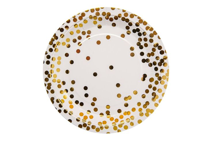 Gold confetti party plates.