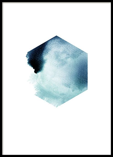 Decorative poster with a blue hexagon pattern. A graphical print with an interesting figure in watercolor. Looks great by itself or in combination with some of our other posters in a wall collage. www.desenio.com