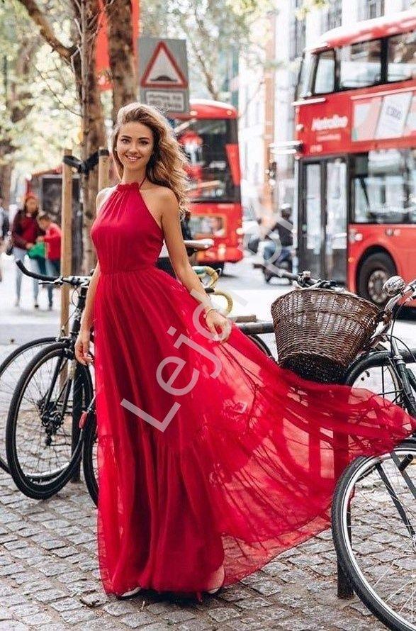 Czerwona Dluga Sukienka Zwiewna Alissa Fashion Formal Dresses Formal Dresses Long