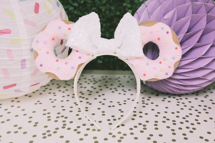 Donut ear headband from a Pastel Donut Birthday Party on Kara's Party Ideas | KarasPartyIdeas.com (12)