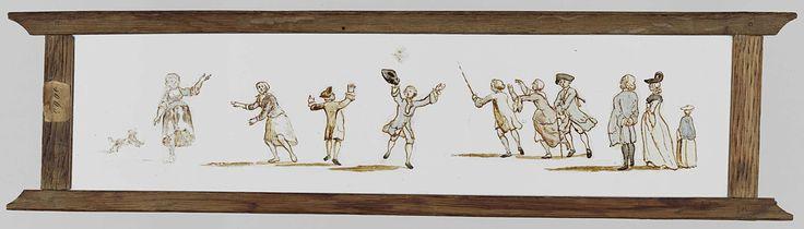 Anonymous   Elf figuren buiten, Anonymous, c. 1700 - c. 1800   Glasplaat in houten vatting. Panorama van elf figuren in de buitenlucht. Van links naar rechts: een hond, twee vrouwen, twee mannen die een wegwaaiende zakdoek proberen te vangen, een man met een stok in zijn linkerhand, een vrouw, een man die op een stok leunt en een man en twee vrouwen.