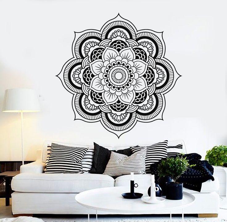 Vinyl Wall Decal Mandala Bedroom Decor Flower Patterns Stickers Mural (119ig)