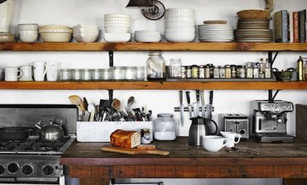 Long rustic open shelves in the kitchen with black for Long kitchen wall units