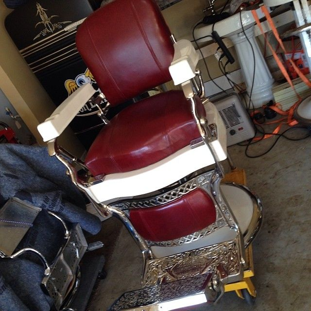 New Used Pilates Chair For Sale: Koken Barber Chair Nickel Plated, Torino Red Leather, New