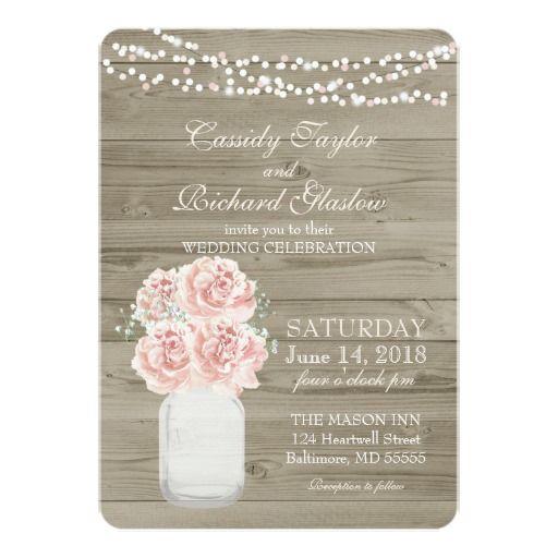 rustic country string lighte u0026 pink roses mason jar barn wood romantic u0026 chic wedding invites invitations order 25 invites and save order